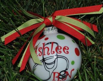 Personalized Monogrammed Christmas Ornament Nurse