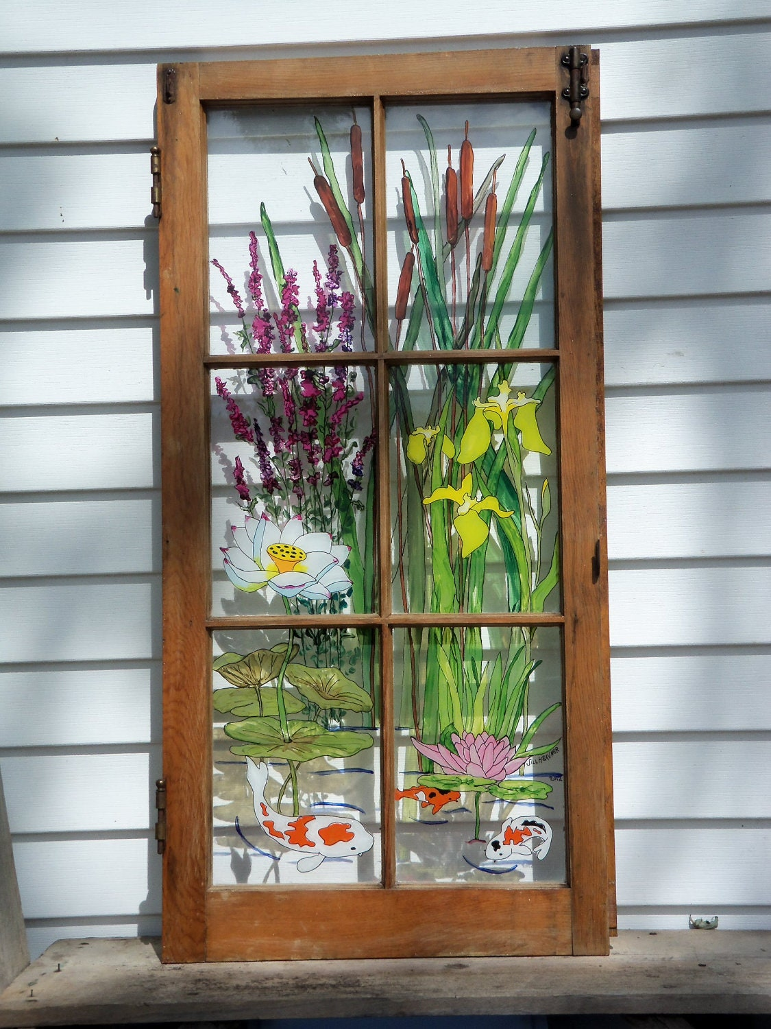 Painted vintage window water garden for Window design art