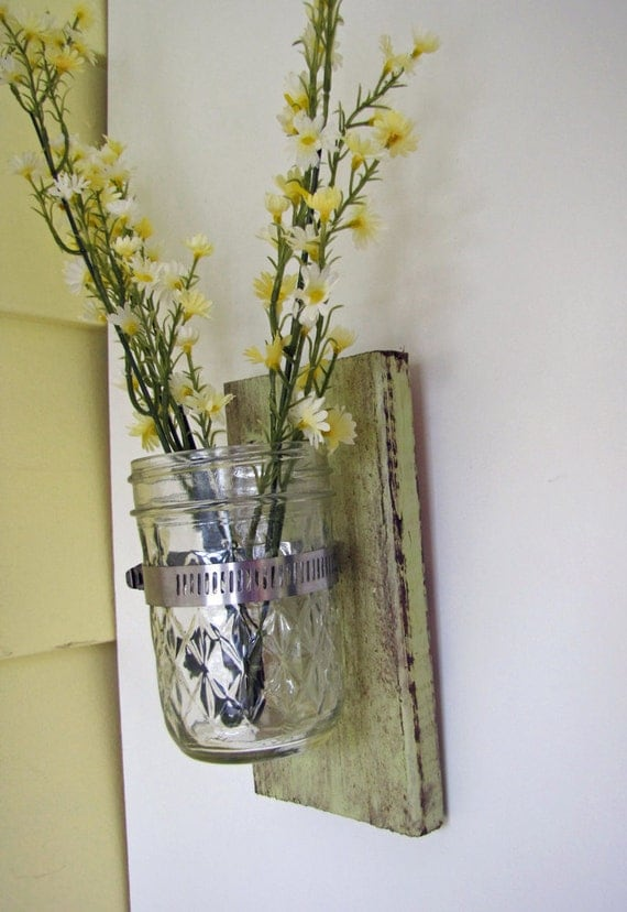 Wall Sconces With Vases : Items similar to Wall Vase Wood Distressed Sconce Glass Decor Cactus Green on Etsy