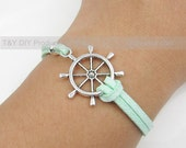 Sailing Bracelet - Charm Bracelet Antique Silver Rudder /Helm /Steer Wheel on Thin Leather Cord Adjustable Bangle with 1inch Extension Chain