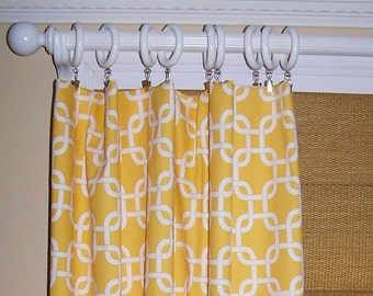 YELLOW CURTAINS Premier Fabric Collection Two Drapery Panels 50 x 63 Corn Diamonds Elephant Geometric