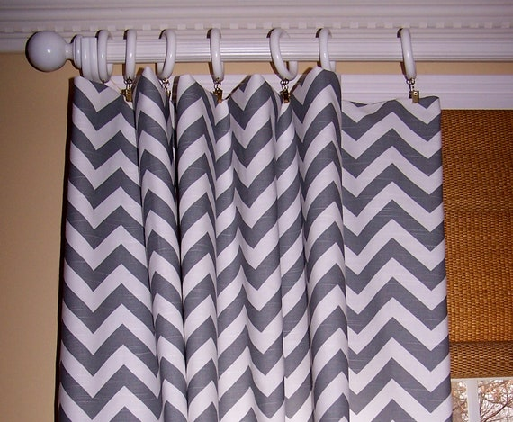 Brown and white chevron curtains