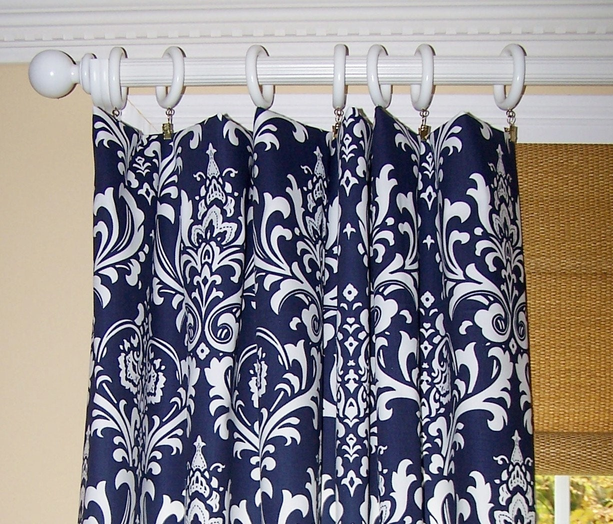 Hot Pink Shower Curtain Hooks Navy Blue and White Chevron