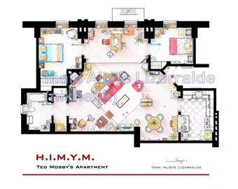 "Ted Mosby's Apartment Floorplan from ""HIMYM"""