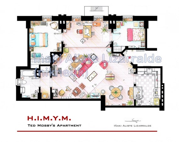 """Ted Mosby's Apartment Floorplan from """"HIMYM"""" (BIG)"""