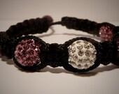 Purple/White Swarovski Pave Beads Shamballa