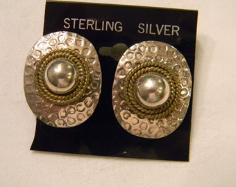 """Stunning Fashion Classic Hammered Textered  Vermeil Post Earrings 1.25"""" Long #2868"""