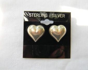 """Fun 925 Sterling Silver Solid Pretty Puff Heart Earrings .75"""" Long #4902"""