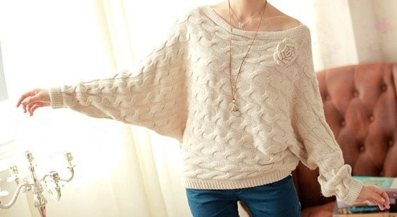 horizontal neck vintage batwing coat twist coat sweater--SW024