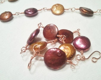 Metalic Pearl and Copper Wire Wrapped Set