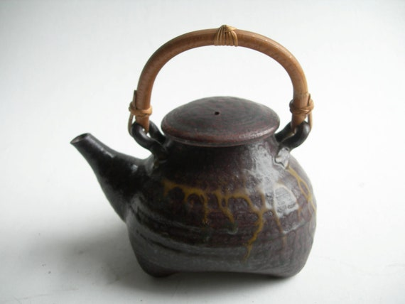 Dripped Brown-Yellow Teapot with Cane Handle, and Two Teacups (SOLD to kimruthwood)