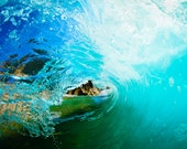 Big file for print. Art photography Blue circle wave, ocean barrel. Los Cabos, Baja California.