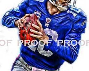 Rare Eli Manning New York Giants Art Prit sn only 50