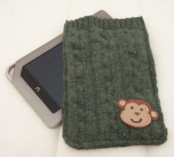 Summer Sale Upcycled Wool Sweater Nook E Reader Cover with Monkey