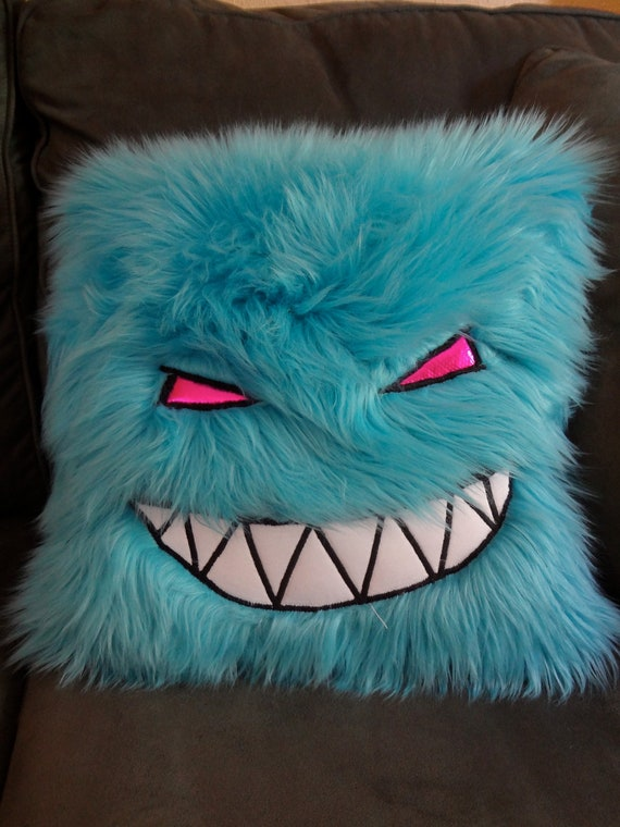 Feed Me Turquoise Fuzzy Monster Pillow