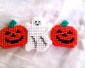SALE Halloween Magnets Pumpkin and Ghost, 25 PERCENT OFF Plastic Canvas Magnets