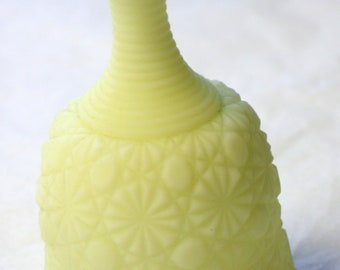Vintage Fenton  Yellow Custard Satin Glass Bell 1974