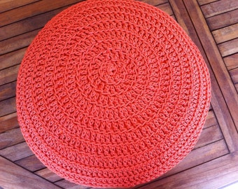 Orange Pouf | Crochet Pouf | Outdoor floor cushion | Outdoor Pouf Ottoman | Footstool | Floor Pouf | Pouffe | Bean Bag | Meditation cushion