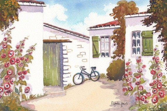 CUSTOM ORDER for CORTNEY Original Watercolour Country cottage with hollyhocks