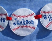 Personalized Boys Baseball Birth Announcement Embroidered with Name, Birthdate, and Weight