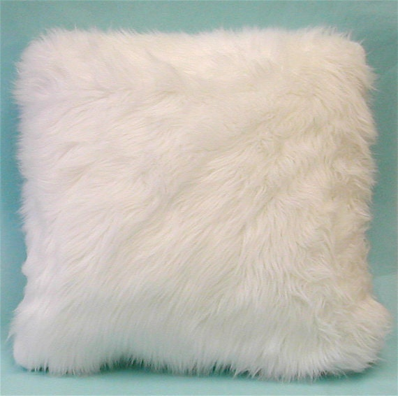 Items similar to 2 - 16 Faux Fur Throw Pillows Bright White Sheep Fur Bear Sofa Bed Nursery ...