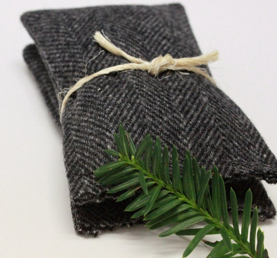 Men's Handmade Balsam Fir Sachets Gray Herringbone Wool Drawer Winter Holiday Christmas