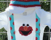 Custom Boutique Elmo Inspired Onesie or T Shirt With Suspenders and Hat Sizes 3-6 mo, 6-12 mo, 12-18 mo, 18-24mo, 2t, 3t, 4t, 5/6