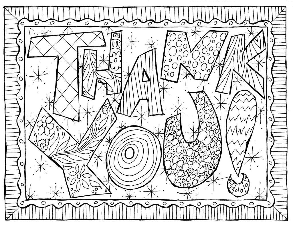 Printable Coloring Pages Thank You Doodle Card Colorable A Jpg File By