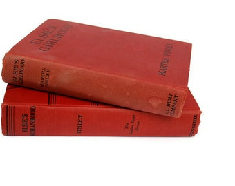Elsie Books Red, Sale, 1933, Martha Finley, Vintage, Home Decor books
