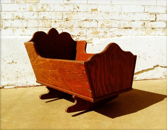 Antique Wooden Baby Cradle Bassinet By Alittlebitofaustin