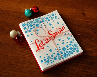 Let It Snow Letterpress Holiday Card - Five Pack
