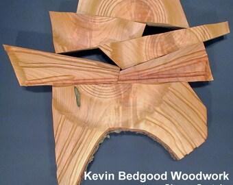 "Sculpture Turned wood, ""Monolithe""  Lathe Sculpted Artwork, Wall Hanging, Wall Art"