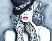 Print from Original Watercolor Fashion Illustration Modern Art Painting titled Playful Hat