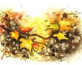 Autumn Leaves Art Print, Autumn Leaf Watercolor Painting, Autumn Fall, Wall Art, Home Decor