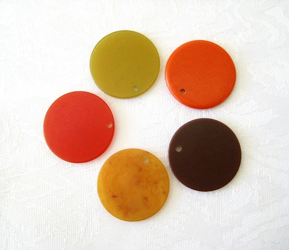 Vintage Bakelite Chip Charms 22mm Discs Drilled FALL COLORS