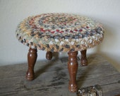Vintage Wooden Braided Stool Shabby Chic Primitive Muted Colors