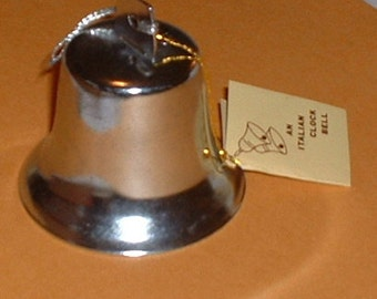 Christmas Metal Italian Miniature Clock Bell 1980s Set of Two with tags