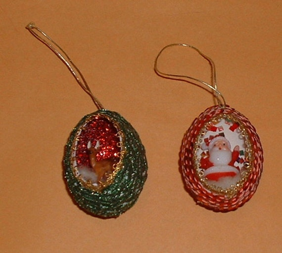 Hand Made Christmas Egg Ornaments Santa & By Memorabiliaforall