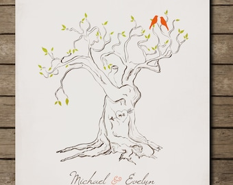 Personalized Custom Love Bird Family Tree Branch, Housewarming Gift, Wall Art Print 8 x 10 Custom colors and fonts