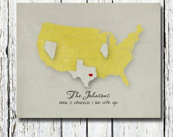 """Personalized Wedding Gift, Customized Long Distance Love Print, Custom USA STATES Map with Lovehearts Print 8""""x10"""""""