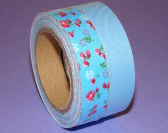 Fabric Tape Roll 2 Set Cute Blue Floral Shabby Chic Solid Colors Washi Scrapbooking Stationery Deco