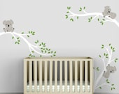 Baby Wall Decals Decor Children's Wall Art White Tree Green Leaves - Koala Tree Branches by LittleLion Studio