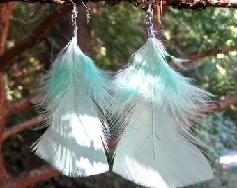 Feather Earrings - Mint Green 4.25 inches