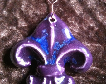 Fleur de Lis royal purple and blue handmade Pottery Ornament