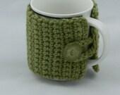 Cup Warmer - Crochet - Warm - Moss Green - Button - Travel - Coffee - Tea - Hot Chocolate - SS-179