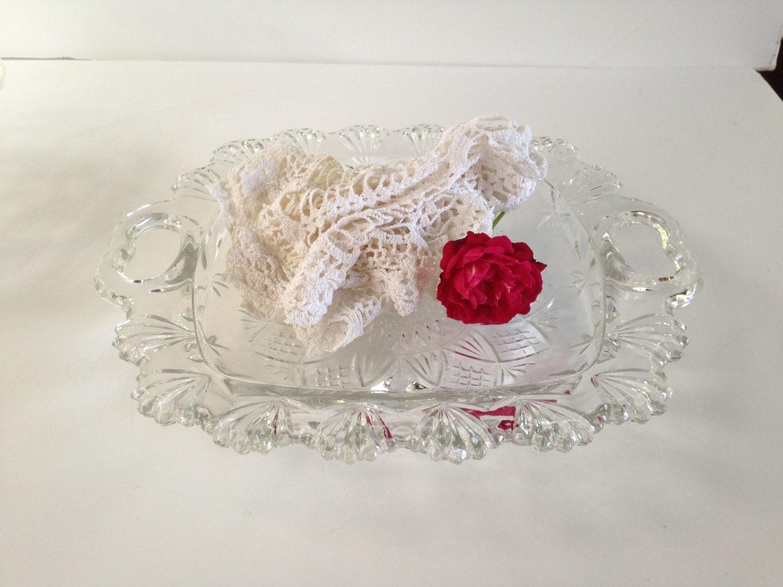Shallow Glass Bowl Centerpiece Uk : Vintage pasari glass bowl shallow pressed glassware heart