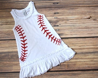 6M-6X Infant, Toddler & Girls Baseball Ruffle Tank Dress. Baby Shower Gift. Baseball girl clothes.