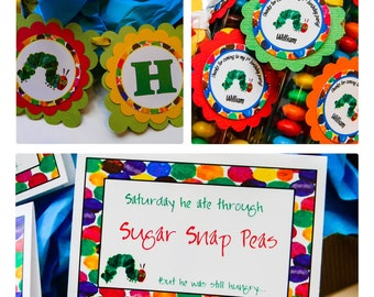 Hungry Caterpillar Party Printables Package - Birthday or Baby Shower