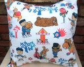 Magic Roundabout Vintage Fabric Cushion -  handmade by Alien Couture - Zebedee Dougal