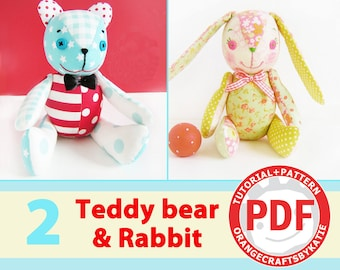 Teddy bear & Rabbit / PDF Patterns and Sewing Tutorial / toy